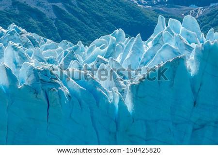 Blue ice of Perito Moreno Glacier, Argentina - stock photo