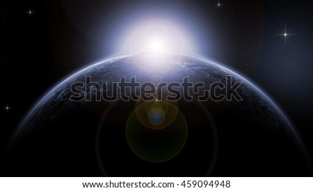 blue ice planet deep in space - 3d rendering  - stock photo