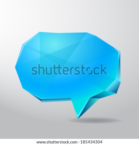 Blue ice speech box in abstract style, can be used for design projects, card, text background - stock photo
