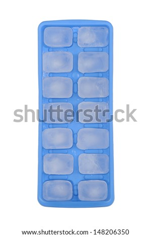 Blue ice tray with ice on white background