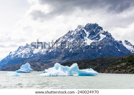Blue icebergs at Grey Glacier in Torres del Paine National Park, Patagonia, Chile - stock photo