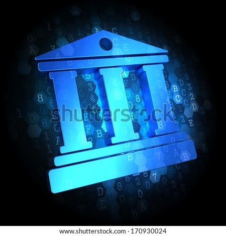 Blue Icon of Building with Columns on Dark Digital Background. - stock photo
