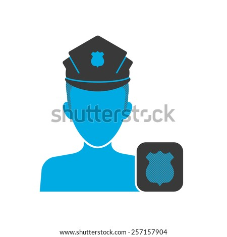 Blue icon of policeman wearing uniform with badge - stock photo