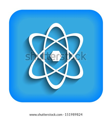 Blue icon with the image of an atom - stock photo