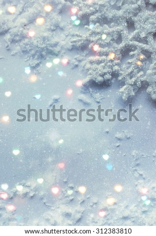 Blue icy background with snowflakes - stock photo