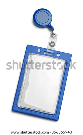 Blue ID Card Holder Isolated on a White Background.