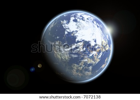 Blue illustration alien earthlike planet from outer space - stock photo