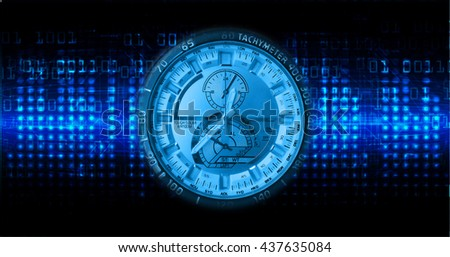 blue illustration of technology internet network computer background with binary number, style. infographics. Information. motion blur. pixel. Binary digit. number. Odometer,clock, watch, cyber