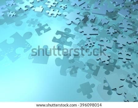 blue imaginative puzzle background - stock photo