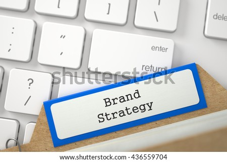 Blue Index Card  Brand Strategy Concept on Background of Computer Keyboard. Archive Concept. Close Up View. Selective Focus. 3D Rendering.