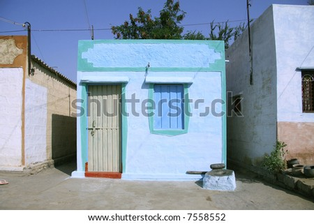 blue indian house in village in hampi, india - stock photo
