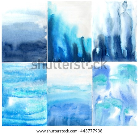 Blue Indigo,Cerulean watercolor background textured  paper splashes brush design card cover decor art water paint - stock photo