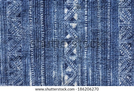 blue indigo dyed batik cloth from Vietnam - stock photo