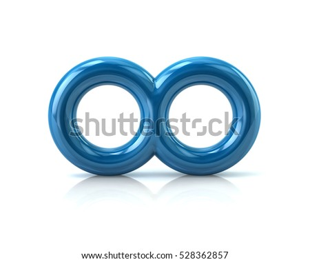 Blue infinity symbol 3d rendering isolated on white background