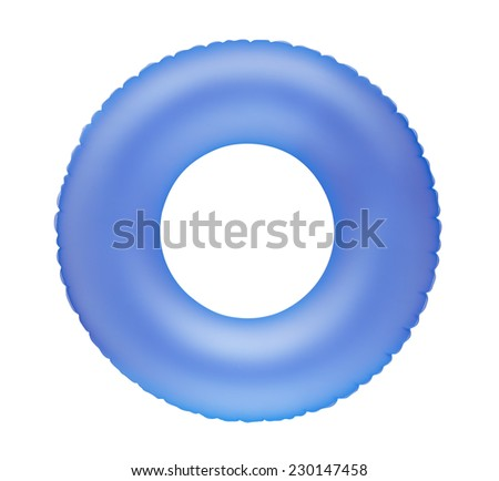 Blue inflatable swimming ring isolated on white - stock photo