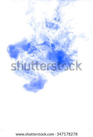 Blue ink in water background