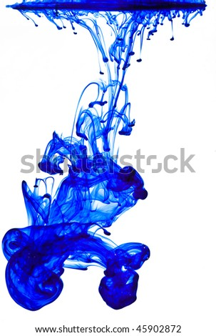 Blue ink in water on a white background - stock photo