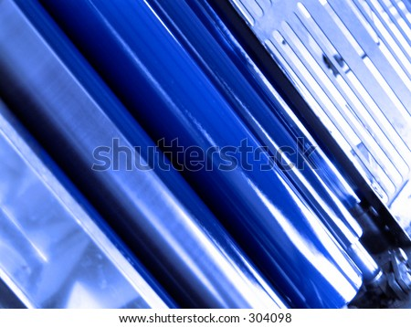 Blue ink rollers - stock photo