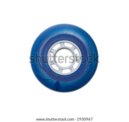 blue inline skate wheel - stock photo