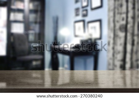 blue interior of office and black desk  - stock photo