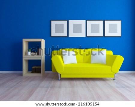 blue interior with a lemon sofa - stock photo