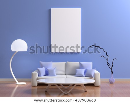 Blue interior with a sofa with cushions, coffee table, floor lamp and decorative vase. Blue wall with clean poster picture mock up with white blank for branding design, text, photo. 3d illustration - stock photo