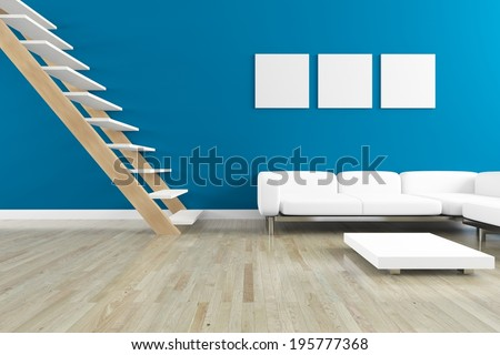 blue interior with a white sofa and staircase - stock photo