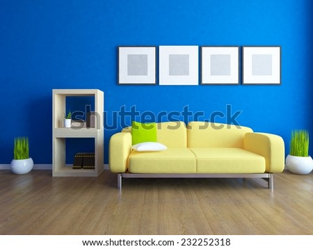 blue interior with a yellow sofa - stock photo