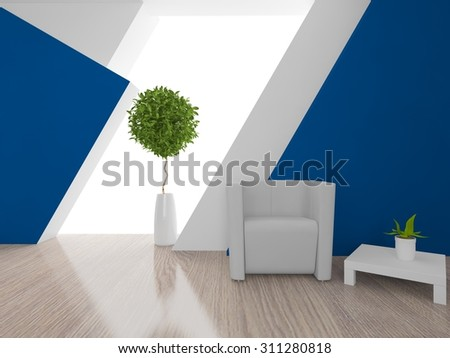 blue interior with an armchair. 3d rendering - stock photo