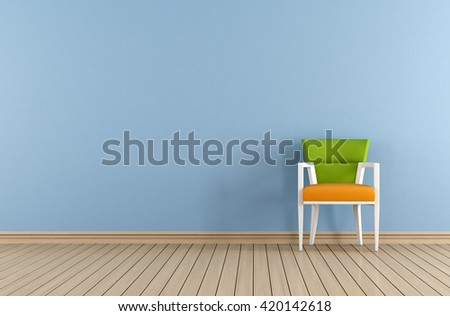 Blue interior with chair against blue wall - 3d rendering  - stock photo