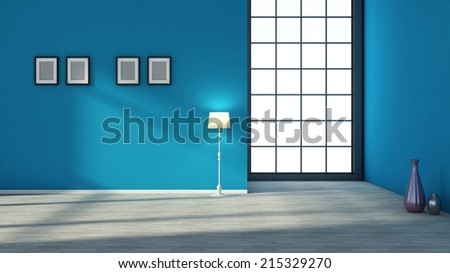 blue interior with large window - stock photo