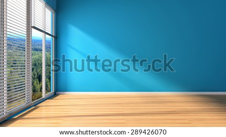 blue interior with large window. 3d illustration - stock photo