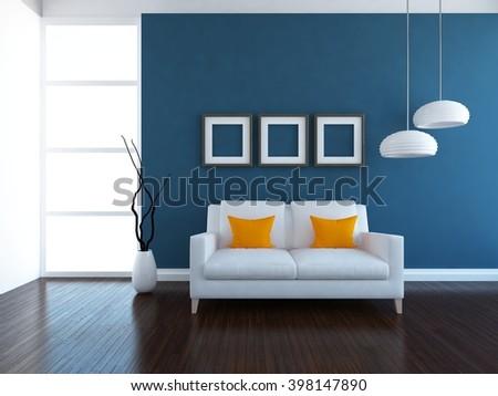 Blue interior with sofa. 3d illustration - stock photo