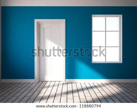 blue interior with white door and window - stock photo