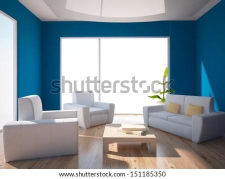 blue interior with white furniture - stock photo