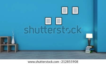 Blue interior. wooden shelf with vases, books and lamp - stock photo