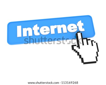 Blue Internet Button. Isolated on White Background.