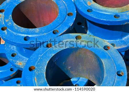 Blue iron pipes as background - stock photo
