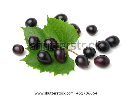 Blue Isabella grapes isolated on white background