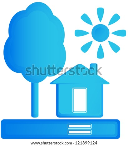 blue isolated sign with home, sun and tree - stock photo