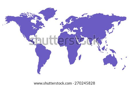 blue isolated world map silhouette on white background - stock photo