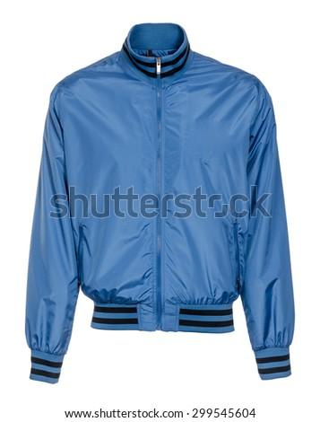 blue jacket on white background - stock photo