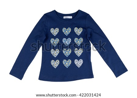 Blue jacket with long sleeves with a heart pattern. Isolate on white. - stock photo