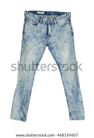 Blue jean isolated on white background, selective focus. Clipping path included.