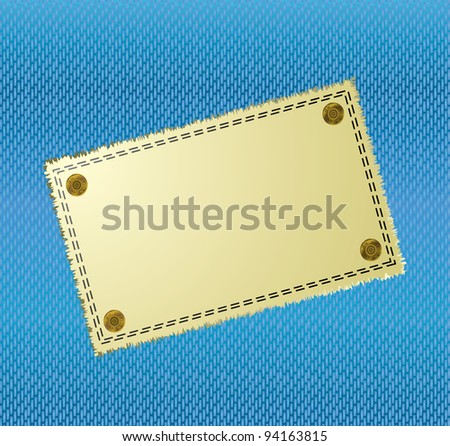 Blue jean material background with yellow canvas label