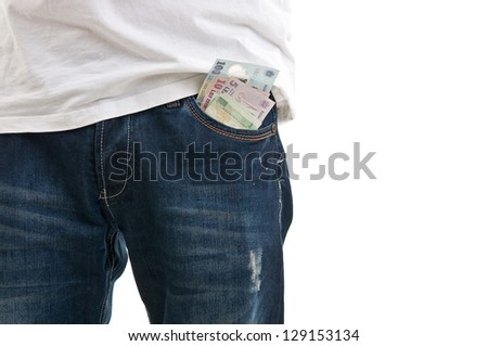 Blue jean pocket with money - stock photo