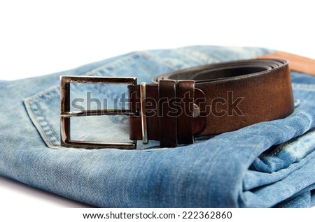 blue jeans and a brown belt