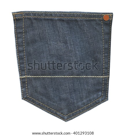 blue jeans back pocket isolated on white