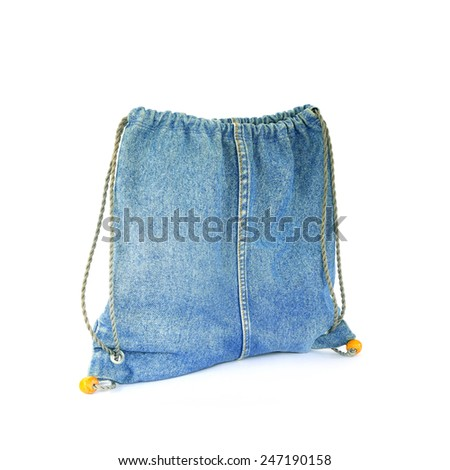 Blue jeans  bag isolated on white background - stock photo