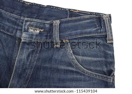 blue jeans denim over white background - stock photo